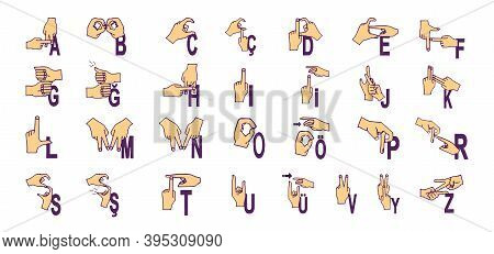 Turkish Handicapped Hand Alphabet. Disabled Hand. Hand Language. Learning Alphabet, Nonverbal Deaf-m