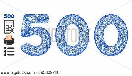 Vector Wire Frame 500 Digits Text. Geometric Wire Carcass Flat Net Made From 500 Digits Text Icon, D