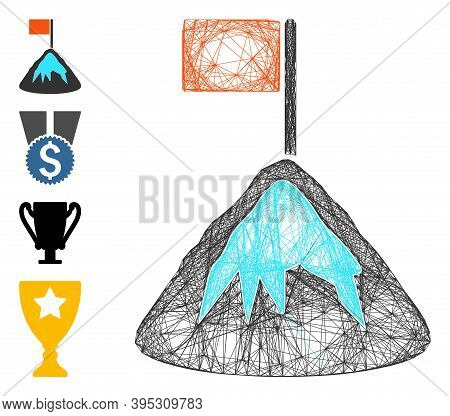 Vector Wire Frame Achievement Mountain. Geometric Wire Frame Flat Network Made From Achievement Moun