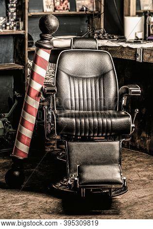 Barber Shop Pole. Hairstylist In Barbershop Interior. Barber Shop Chair. Barbershop Armchair, Salon,