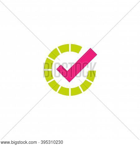 Done Check Mark. Valid Seal Icon. Pink Tick In Green Circle. Flat Ok Sticker Icon. Isolated On White