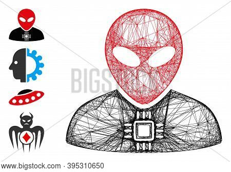 Vector Wire Frame Alien Cyborg. Geometric Wire Frame 2d Net Generated With Alien Cyborg Icon, Design