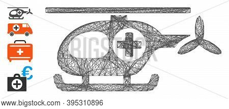 Vector Network Ambulance Helicopter. Geometric Wire Frame Flat Network Made From Ambulance Helicopte