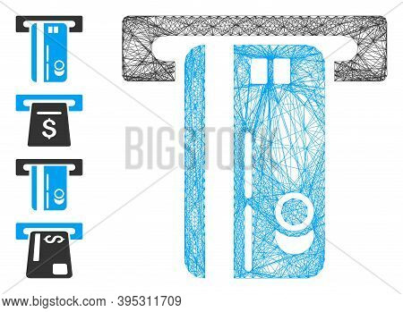 Vector Net Atm Machine. Geometric Hatched Frame 2d Net Made From Atm Machine Icon, Designed From Int