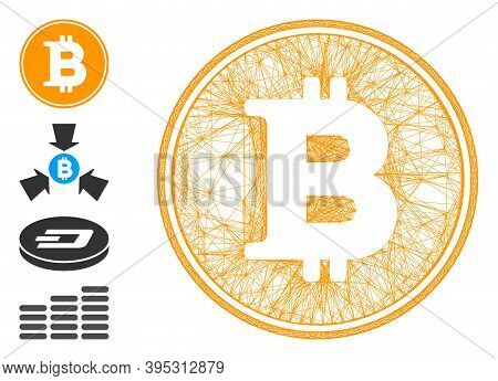 Vector Wire Frame Bitcoin Coin. Geometric Hatched Frame 2d Net Generated With Bitcoin Coin Icon, Des
