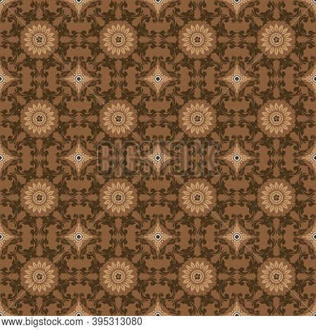 Abstrack Pattern On Parang Batik With Smooth Brown Color Design.