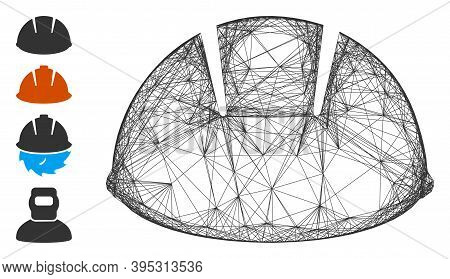 Vector Wire Frame Builder Helmet. Geometric Wire Carcass Flat Network Generated With Builder Helmet