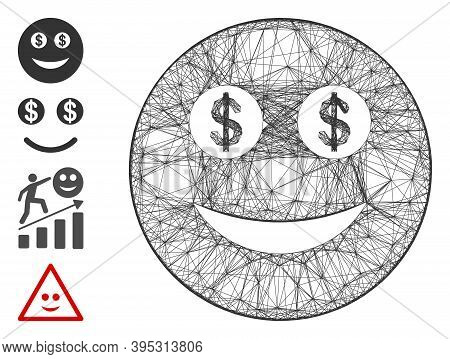 Vector Wire Frame Business Smiley. Geometric Wire Frame 2d Net Based On Business Smiley Icon, Design