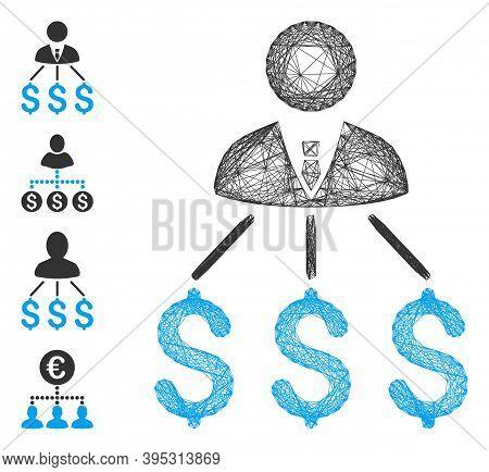Vector Network Businessman Expenses. Geometric Wire Frame 2d Network Made From Businessman Expenses
