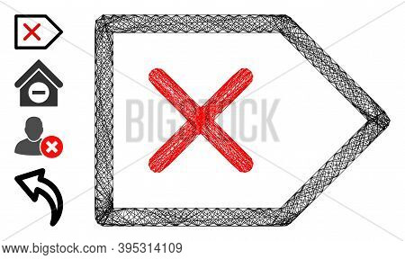 Vector Net Cancel. Geometric Wire Frame 2d Net Made From Cancel Icon, Designed From Crossed Lines. S