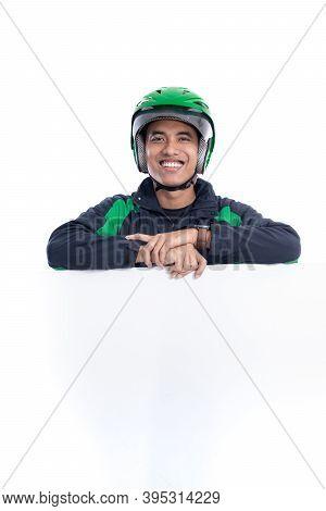 Uber Rider With Helmet Holding Blank White Board