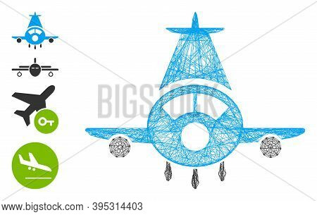 Vector Wire Frame Cargo Plane. Geometric Hatched Frame 2d Network Made From Cargo Plane Icon, Design