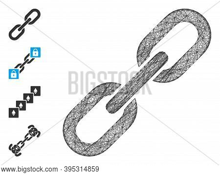 Vector Net Chain Link. Geometric Hatched Frame Flat Net Made From Chain Link Icon, Designed From Cro