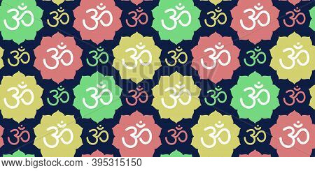 Om Sign Seamless Pattern. Vector Sacral Icon. Meditation Line Symbol. Yoga Background. Color Illustr