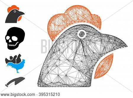 Vector Net Chicken Head. Geometric Hatched Carcass Flat Net Generated With Chicken Head Icon, Design