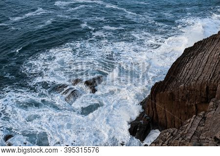 Fierce Waves Hiting The Cliffs At The Savage Atlantic Ocean.