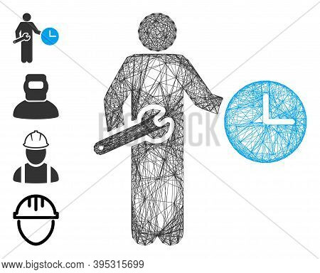 Vector Wire Frame Clock Serviceman. Geometric Hatched Frame Flat Network Made From Clock Serviceman