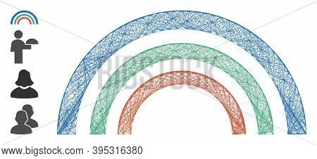 Vector Wire Frame Color Arc. Geometric Wire Frame 2d Net Generated With Color Arc Icon, Designed Wit