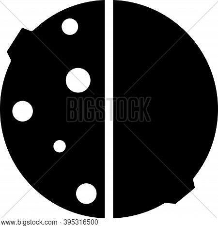 Black Eclipse Of The Sun Icon Isolated On White Background. Total Sonar Eclipse. Vector Illustration