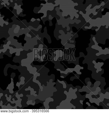 Camouflage Seamless Pattern Black Texture. Abstract Modern Vector Military Camo Background. Fabric T