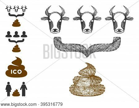 Vector Wire Frame Cow Manure Aggregator Funnel. Geometric Wire Frame Flat Network Made From Cow Manu
