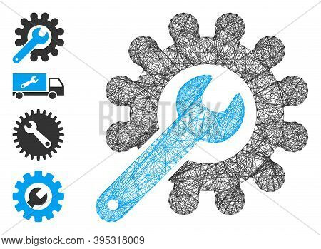 Vector Wire Frame Customization Tools. Geometric Wire Frame Flat Network Generated With Customizatio