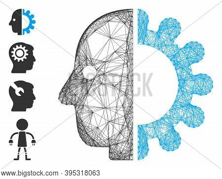Vector Wire Frame Cyborg Head. Geometric Hatched Frame Flat Network Made From Cyborg Head Icon, Desi