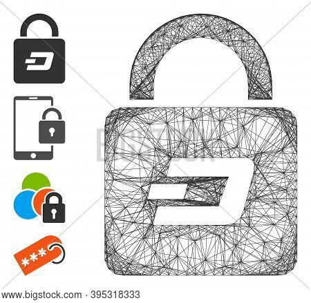 Vector Wire Frame Dash Lock. Geometric Wire Frame Flat Net Made From Dash Lock Icon, Designed From C