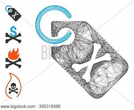 Vector Network Death Bones Tag. Geometric Hatched Frame 2d Network Made From Death Bones Tag Icon, D