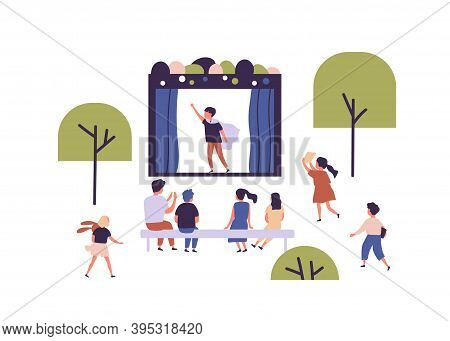 Children Street Amateur Theater With Actor Performing Play In Front Of Audience. Outdoor Theatrical