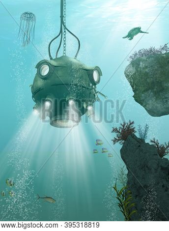 Underwater Bathysphere, Deep Diving Device, For Deep Sea Exploration By Marine Biologists, 3d Render
