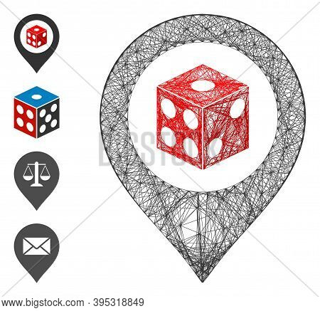 Vector Wire Frame Dice Map Pointer. Geometric Wire Frame Flat Network Made From Dice Map Pointer Ico