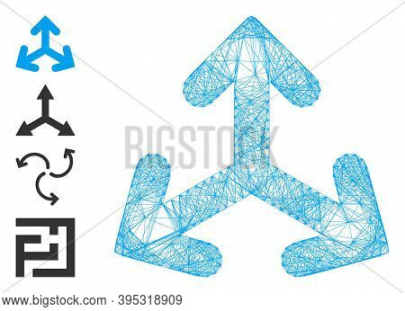 Vector Wire Frame Direction Variants. Geometric Wire Frame 2d Net Made From Direction Variants Icon,