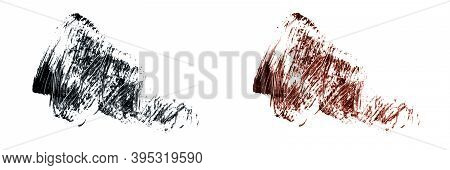 Set Of Different Mascara Smears On White Background Isolated. Black And Brown Mascara Smudged. Banne