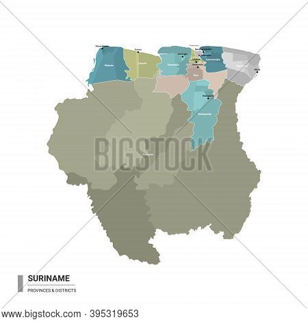 Suriname Higt Detailed Map With Subdivisions. Administrative Map Of Suriname With Districts And Citi