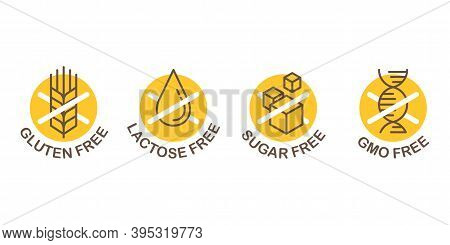 Lactose Free Stamp, Sugar Free, Gluten Free, Gmo Free - Set Of Food Packaging Decoration Element For