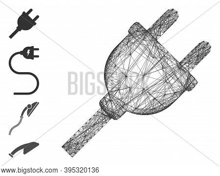 Vector Wire Frame Electric Plug. Geometric Wire Carcass Flat Network Generated With Electric Plug Ic