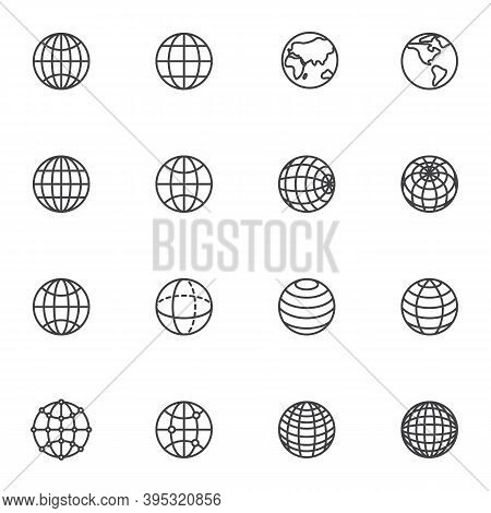Globe Grid Line Icons Set, Outline Vector Symbol Collection, Linear Style Pictogram Pack. Signs, Log