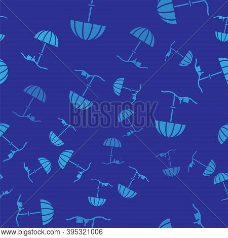 Blue Sun Protective Umbrella For Beach Icon Isolated Seamless Pattern On Blue Background. Large Para