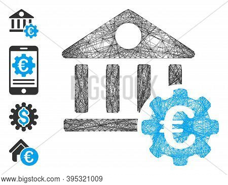 Vector Net Euro Bank Building Options. Geometric Linear Carcass 2d Net Generated With Euro Bank Buil