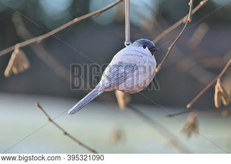 Spring Time. Decorative Bird On A Branch On A Blurred Spring Forest Background.spring Background. Sp