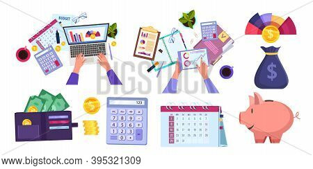 Financial Audit, Accounting Or Tax Report Vector Collection With Hands, Laptop, Wallet, Stationery.
