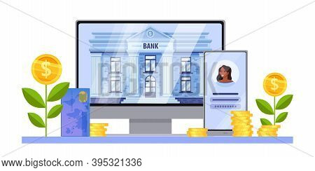 Online Digital Bank Finance Vector Concept With Computer Screen, Building, Smartphone, Card, Growing