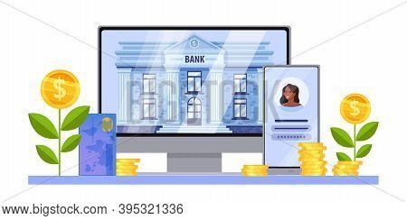 Online Digital Bank Finance Vector Concept With Computer Screen, Building, Smartphone, Card, Growing
