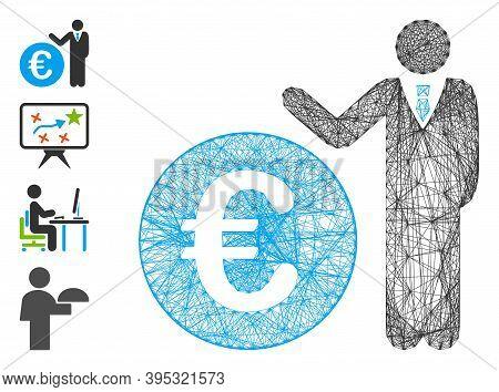 Vector Net Euro Economist. Geometric Hatched Carcass Flat Net Made From Euro Economist Icon, Designe