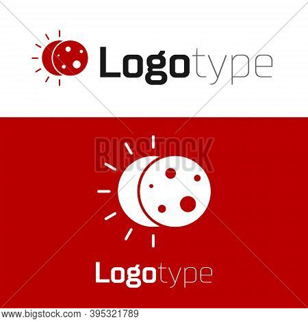 Red Eclipse Of The Sun Icon Isolated On White Background. Total Sonar Eclipse. Logo Design Template