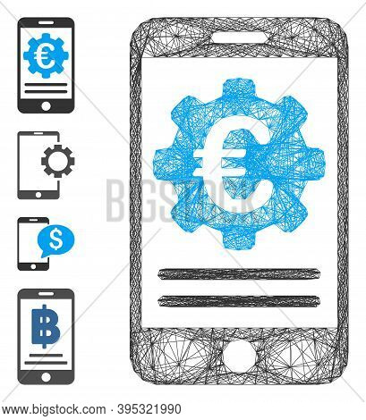 Vector Wire Frame Euro Mobile Banking Configuration. Geometric Wire Frame 2d Net Made From Euro Mobi