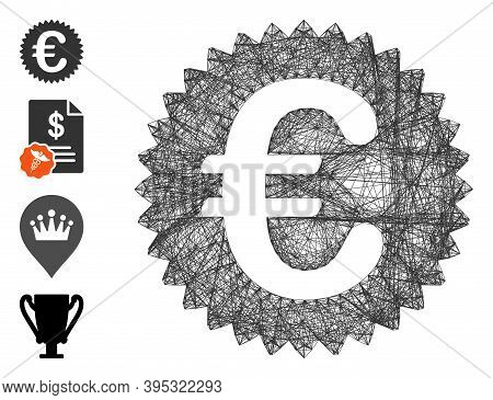 Vector Wire Frame Euro Reward Seal. Geometric Linear Frame Flat Net Generated With Euro Reward Seal
