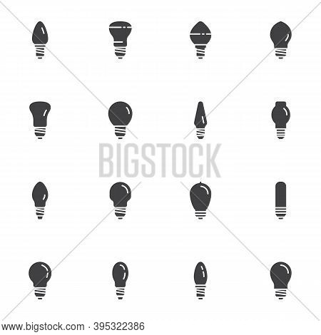 Light Bulb Vector Icons Set, Modern Solid Symbol Collection, Filled Style Pictogram Pack. Signs, Log