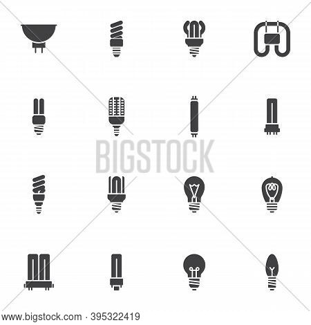 Light Bulb Shape Vector Icons Set, Modern Solid Symbol Collection, Filled Style Pictogram Pack. Sign